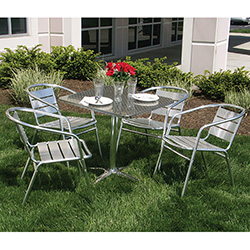 Florida Seating KIT Outdoor Aluminum Set 4 Arm Chairs And 1 Table