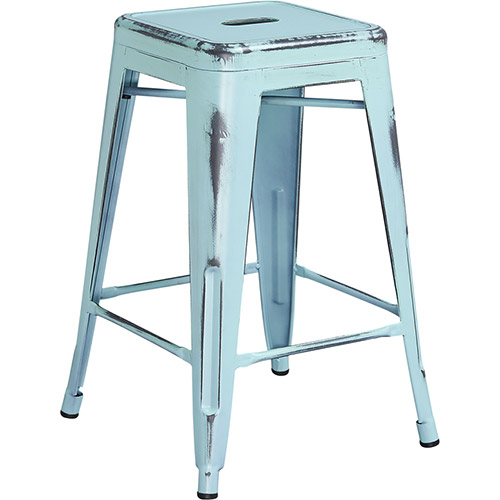 Flash Furniture Distressed Metal Backless Bar Stool Dream