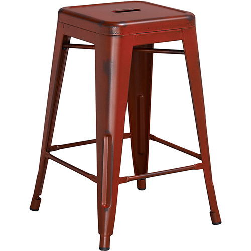 Flash Furniture Distressed Metal Backless Bar Stool Red