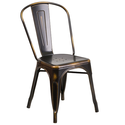Flash Furniture Et 3534 Cop Gg Distressed Metal Indoor Stack Chair Copper