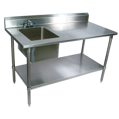 Stainless Sink Table : ... Stainless Steel Prep Table With Sink, 60