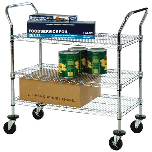Focus Foodservice FFC24363CH Kitchen Utility Cart 24 W 3 Shelves Chrom