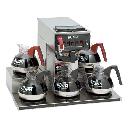 Bunn 13250-0023 Automatic Commercial Coffee Brewer with Hot Water Faucet, 5 Low Profile Warmers ...