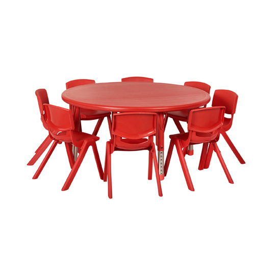 ECR4KIDS ELR14406P8X10 RD 45 Round Resin Table And 8x10 Chairs Red
