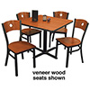 "Circle Back Chair Combo Deal - (4) Chairs with Wood Seats, (1) 36""x36"" Table"