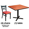 X Back Chair Combo Deal - (4) Chairs with Wood Seats, (1) Table