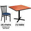 "Curved Vertical Slat Dining Combo Deal - (4) Chairs with Standard Vinyl Seats, (1) 36""x36"" table"