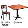 Wave Back Chair Combo Deal - (4) Chairs with Wood Seats, (1) Table