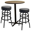 "Bar Stools and Table Combo Deal - Black Double Ring Bar Stools, Designer Vinyls, 24"" Table"