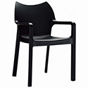 Compamia ISP028-BLA Diva Resin Outdoor Dining Arm Chair Black, CS of 4/EA