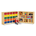 Jonti-Craft 0428JC 25 Cubbie-Tray Mobile Fold-n-Lock - with Colored Trays