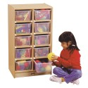 Jonti-Craft 06110JC 10 Cubbie-Tray Mobile Unit - with Clear Trays