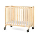 """Foundations 1031042 Compact Hideaway Easyroll Folding Fixed-Side Crib, Slatted W/ 4"""" Casters"""