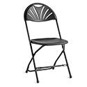 Samsonite 49755-1050 2000 Series Injection Mold Fanback Folding Chair, Black/Black Frame