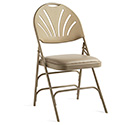 Samsonite 51659-2899 XL Series Commercial Grade Fanback Steel and Vinyl Folding Chair, Neutral Frame/Neutral Vinyl