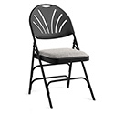Samsonite 51660-1062 XL Series Commercial Grade Fanback Steel and Fabric Folding Chair, Black Frame/Grey Fabric Seat