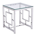Zuo Modern 100185 Geranium Side Table, Polished Stainless Steel