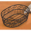 Wrought Iron, Oval Bread Basket with Scroll Design