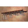 Bar Glass Rack - Glass Hanger Walnut, Chain for Ceiling Mount