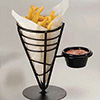 Metal Conical Serving Basket Black Wrought Iron, 1 Cone With Ramekin Holder