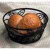 Wrought Iron, Round Bread Basket with Leaf Design