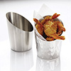 Angled Stainless Steel Fry Cup - Smooth Satin Finish