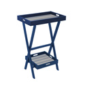 Blue ECO High Portable Table with 3 Pool Stripe Straps, Removable Insert & Matching Square Tray
