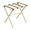 Ivory Straight Leg Wood Luggage Rack with 4 Beige Nylon Straps