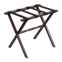 Dark Walnut Straight Leg Wood Luggage Rack with 4 Black Nylon Straps