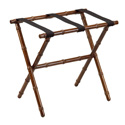 Dark Walnut Bamboo Inspired Wood Luggage Rack with 3 Black Nylon Straps