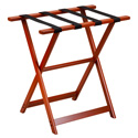 Mahogany Tall Wood Luggage Rack with 4 Black Nylon Straps