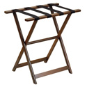 Dark Walnut Tall Wood Luggage Rack with 4 Black Nylon Straps