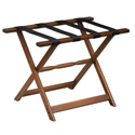 Dark Walnut Low Support Wood Luggage Rack with 4 Black Nylon Straps