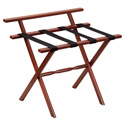Mahogany Wall Protector Wood Luggage Rack with 4 Black Nylon Straps