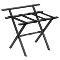 Black Wall Protector Wood Luggage Rack with 4 Black Nylon Straps