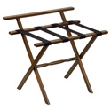 Dark Walnut Wall Protector Wood Luggage Rack with 4 Black Nylon Straps