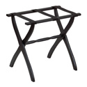 Black Contour Leg Wood Luggage Rack with 3 Fine Black Nylon Straps