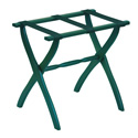 Hunter Green Contour Leg Wood Luggage Rack with 3 Hunter Green Nylon Straps