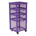 Office Star Products CLY04AS-512 Clayton 4 Drawer Rolling Cart, Pink Metal Finish Frame