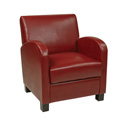 Office Star Products MET807RRD Club Chair in Crimson Red Bonded Leather with Espresso Legs