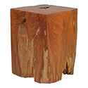 Zuo Modern 155062 Prehistoric Table Stool, Natural & Antique Gold