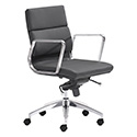 Zuo Modern 205895 Engineer Low Back Office Chair, Black