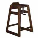 Wooden High Chair Solid Oak, Dark Walnut Finish