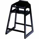 Wooden High Chair Solid Oak, Black Finish