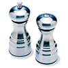 "Normandy Pepper Mill and Salt Shaker Set - Brushed Metal, 5-3/4""H"