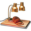 "Food Heat Lamp - 24"" Double Arm Infrared Gooseneck Gold"