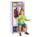 Jonti-Craft 4682JCWW119 Rainbow Accents 2 Section Coat Locker with Step - Green