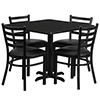 Value Series 47K-331 Ladderback Chair and Table Set Combo Deal, Black Laminate Table