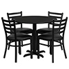 "Flash Furniture HDBF1029-GG Table & Chair Set, (1) round 36"" black laminate table top with X-base, (1) Round 36"" Black Laminate Table Top With X-Base"