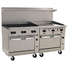 "Endurance Gas Range - 72""W, 6 Burners, 2 Bakers Width Ovens, 36"" Manual Griddle"